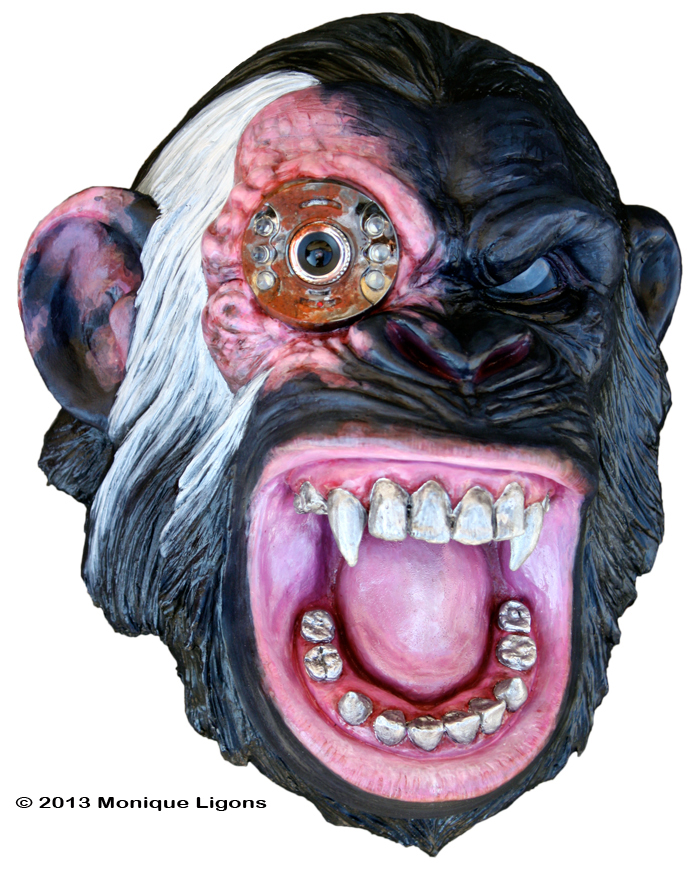 Angry Black Chimp with mechanical eye sculpture